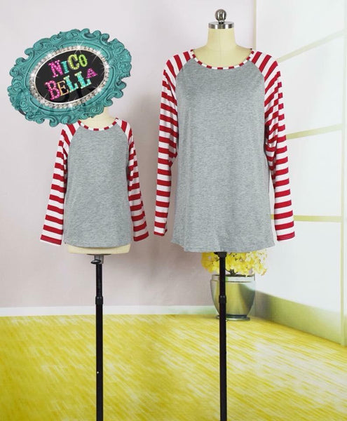 Red & White Raglan - Nico Bella Boutique