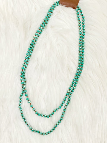 Turquoise Crystal Beaded Necklace - Nico Bella Boutique