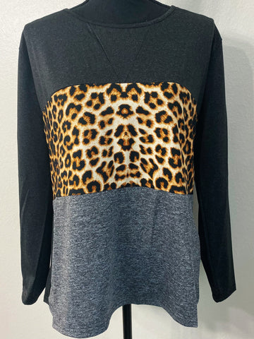 Leopard and Grey Color Block Long Sleeve Top