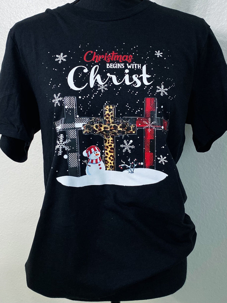 Christmas Begins With Christ Graphic Tee - Nico Bella Boutique