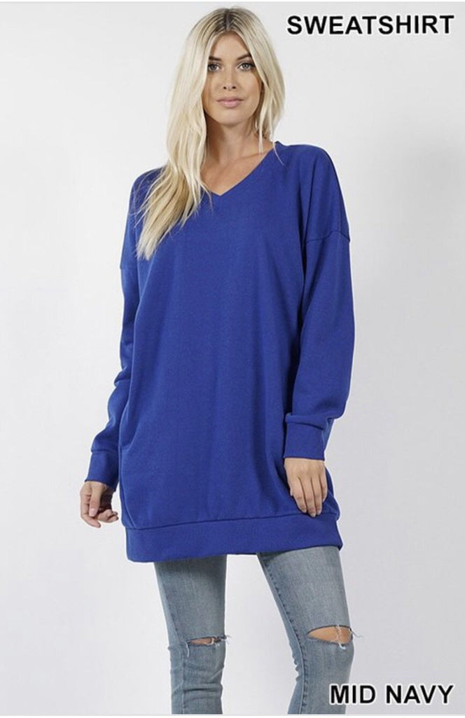 Women's Oversized Loose Fit V-Neck Tunic Sweatshirt Mid Navy - Nico Bella Boutique