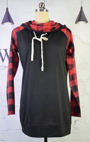 Red Buffalo Plaid Cowl Neck Hoodie - Nico Bella Boutique
