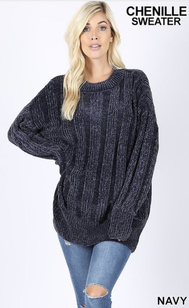 Women's Navy Over sized Cable Knit Chenille Sweater - Nico Bella Boutique