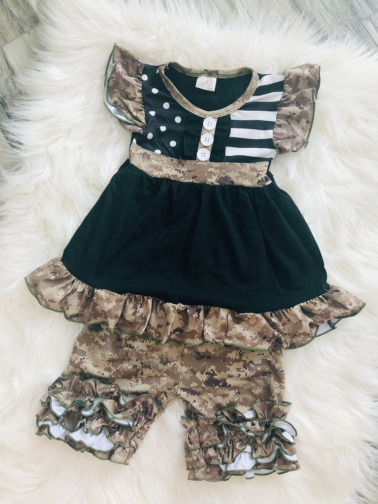 Army Print Camo Short Set - Nico Bella Boutique