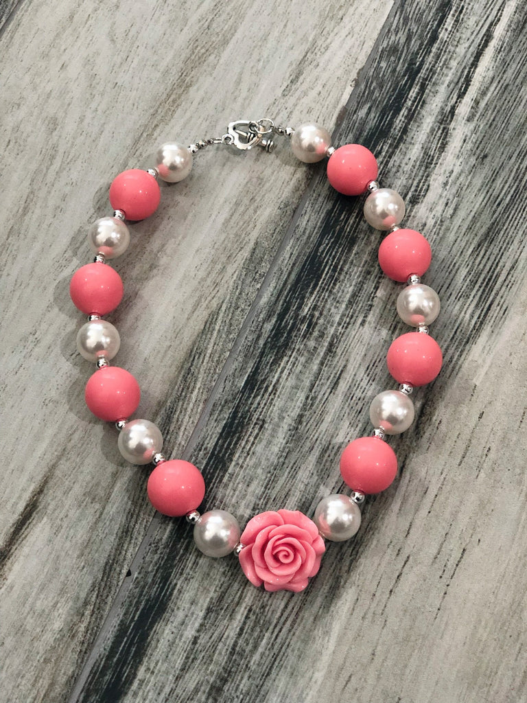 Coral & Pearl Bubblegum Necklace - Nico Bella Boutique