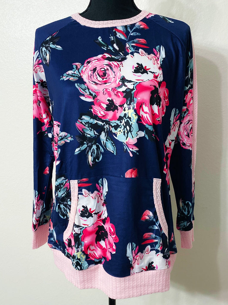 Navy Floral Light Pullover - Nico Bella Boutique