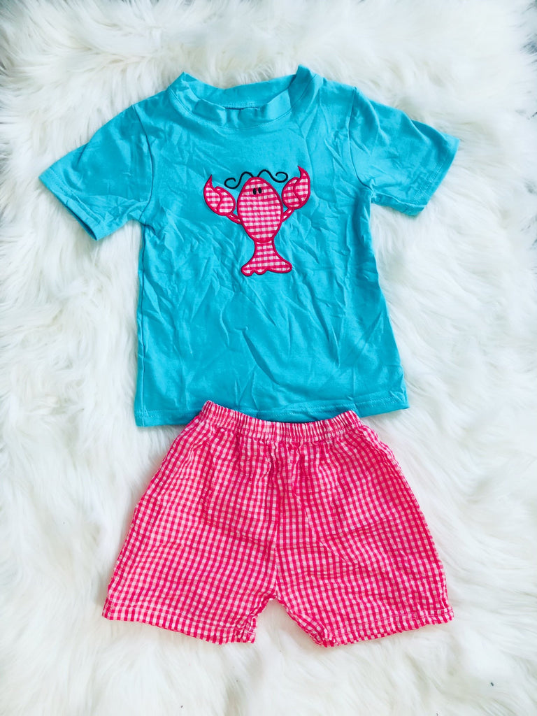 Boys Lobster Crawfish Applique Short Set - Nico Bella Boutique
