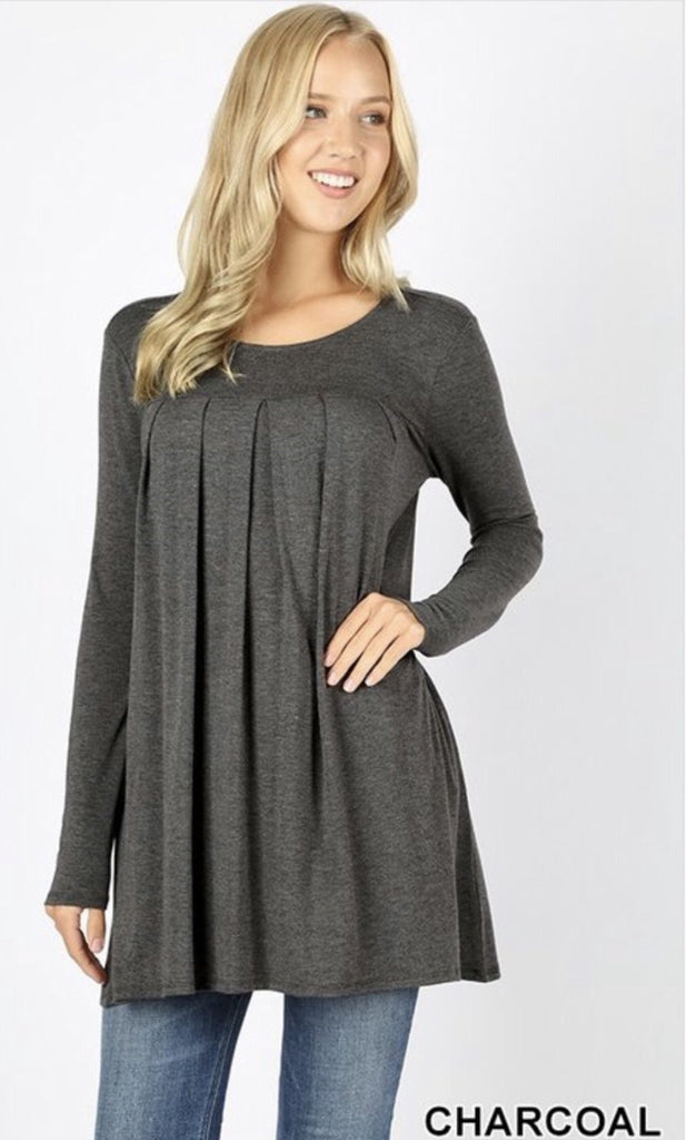 Women's Plus Size Pleaded Charcoal Round top - Nico Bella Boutique
