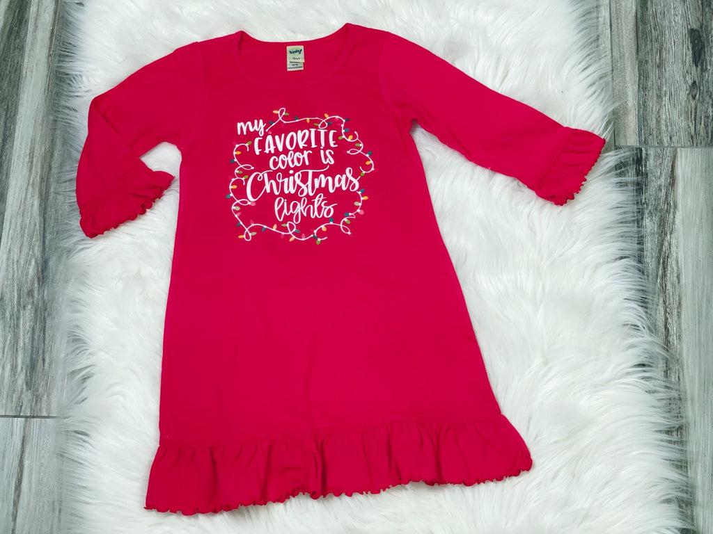 My Favorite Color is Christmas Lights Red Lettuce Ruffle Dress - Nico Bella Boutique