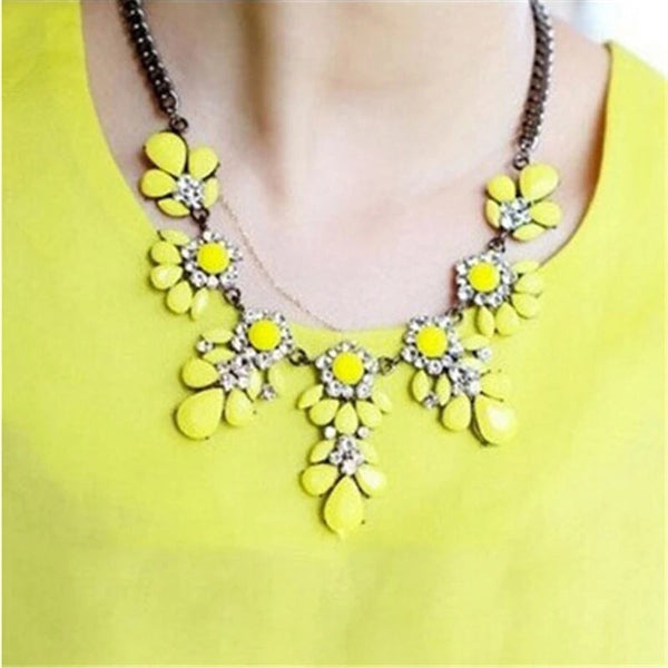 Neon Yellow Gem Statement Necklace - Nico Bella Boutique