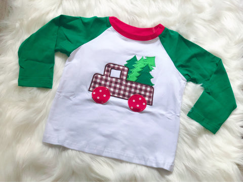 Christmas Tree Truck Applique Raglan - Nico Bella Boutique