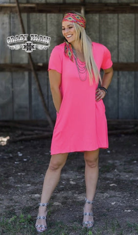 Neon Pink Druzzy Pocket Dress - Nico Bella Boutique