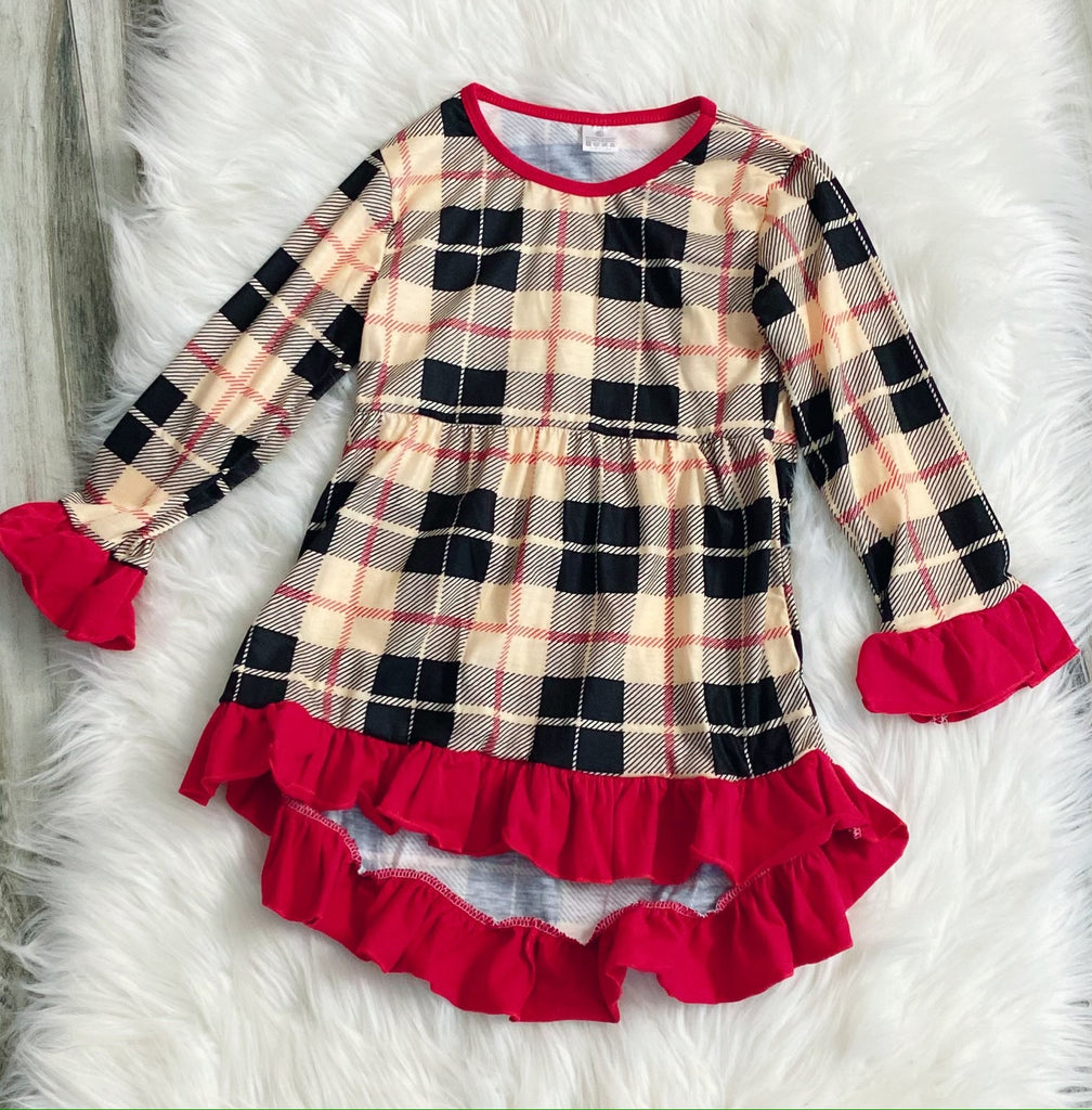Beige Plaid Hi-Lo Tunic - Nico Bella Boutique