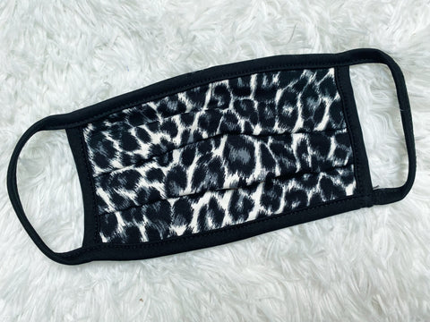 Adult Grey Leopard Face Mask - Nico Bella Boutique