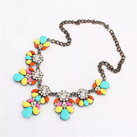 Multi-Color Gem Statement Necklace - Nico Bella Boutique