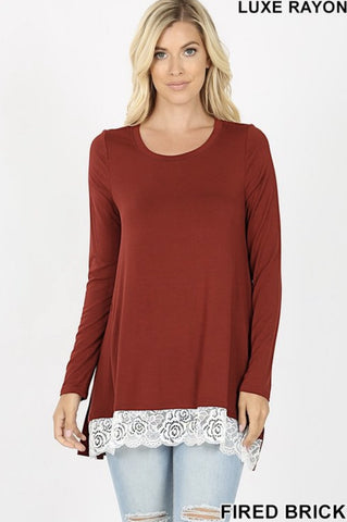 Fired Brick Lace Trim Hi-Lo Top - Nico Bella Boutique