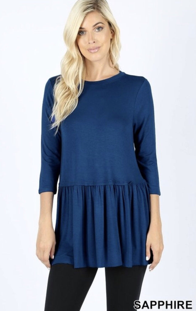 Women's Sapphire Rayon Ruffle Bottom 3/4 Sleeve - Nico Bella Boutique