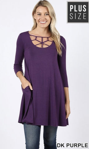 Dark Purple 3/4 Sleeve Caged Tunic Pocket Top - Nico Bella Boutique