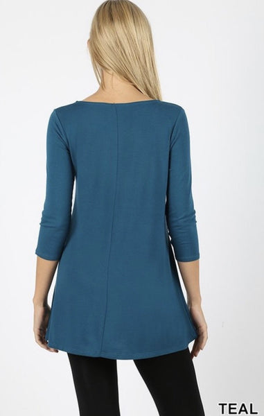 Teal 3/4 Sleeve Triple Lattice Front Top - Nico Bella Boutique