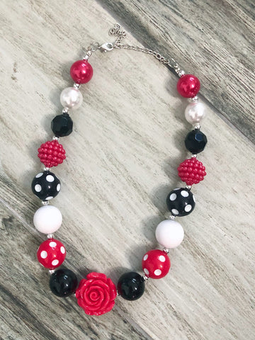 Rose Red & Black Polka Dot Bubblegum Necklace - Nico Bella Boutique