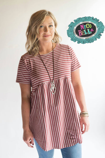 Brick Red Stripe Criss Cross Tunic - Nico Bella Boutique