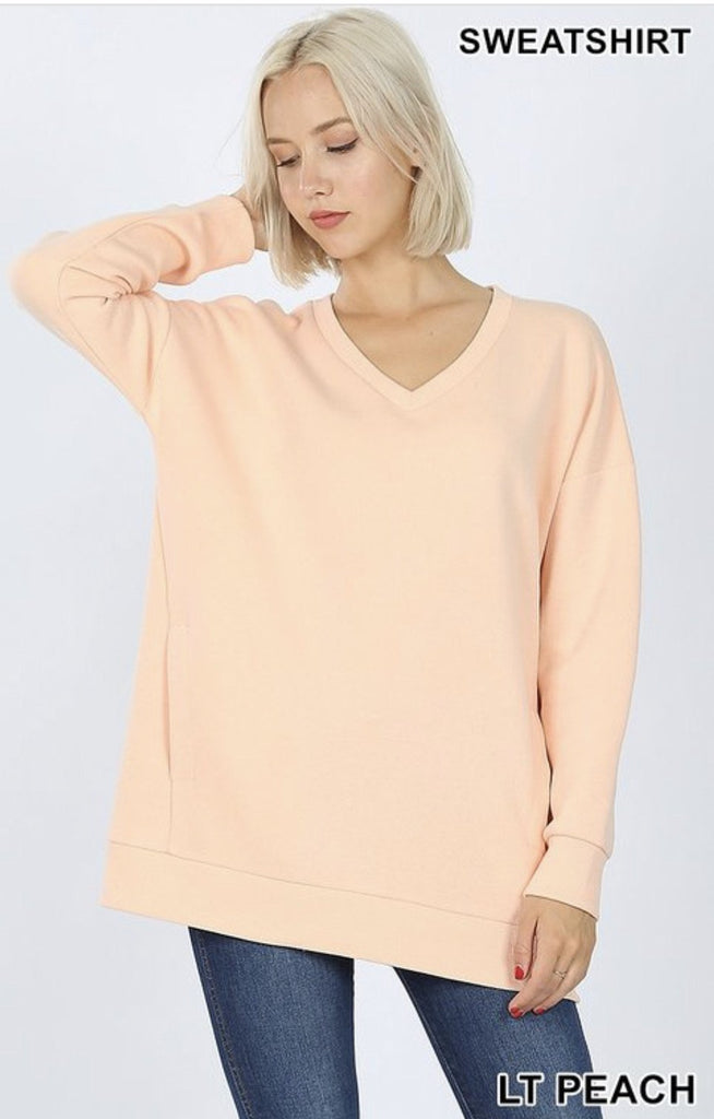 Light Peach V-Neck Sweatshirt - Nico Bella Boutique