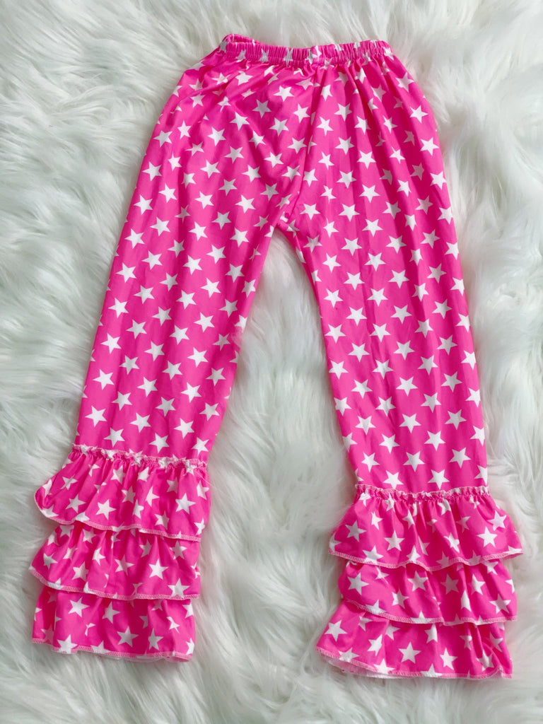 Pink Star Triple Ruffle Pants - Nico Bella Boutique