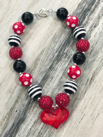 Red & Black Heart Bubblegum Necklace - Nico Bella Boutique