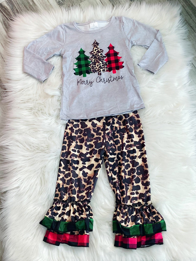 Merry Christmas Leopard Buffallo Plaid Accent Set - Nico Bella Boutique