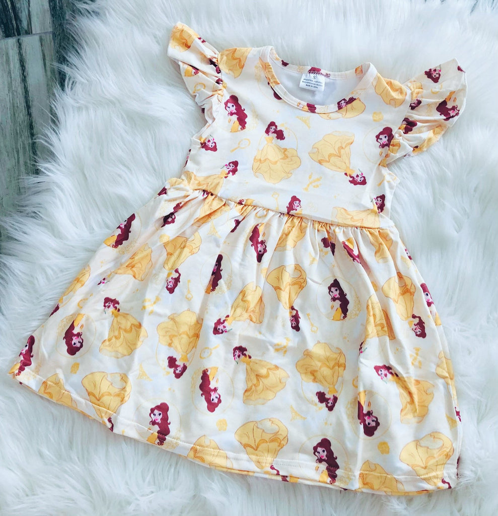 Yellow Belle Girls Pearl Dress - Nico Bella Boutique