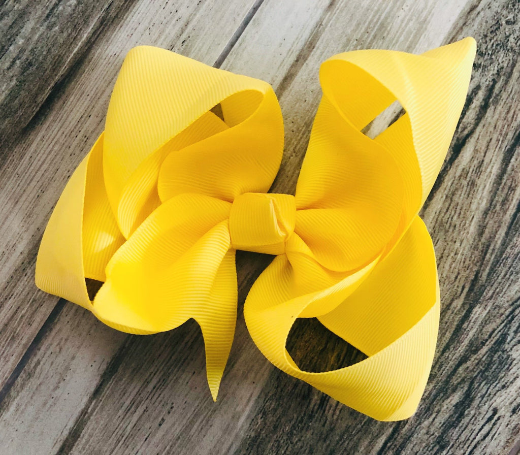 Yellow Girls Hair Bow - Nico Bella Boutique