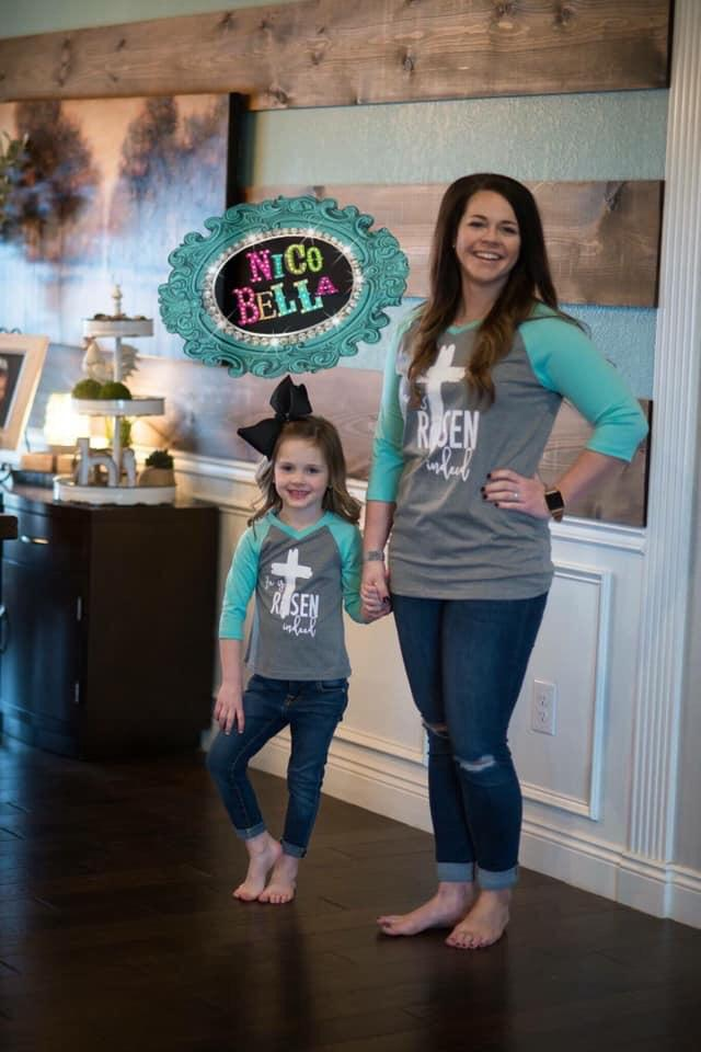 Women's He is Risen Indeed Aqua Raglan - Nico Bella Boutique