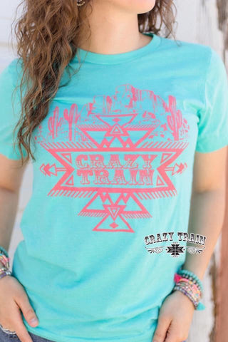 Crazy Train Turquoise Seabreeze Saguaro Graphic Tee - Nico Bella Boutique