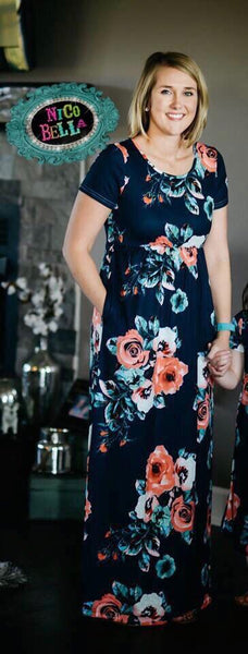 Navy Floral Short Sleeve Maxi Dress - Nico Bella Boutique