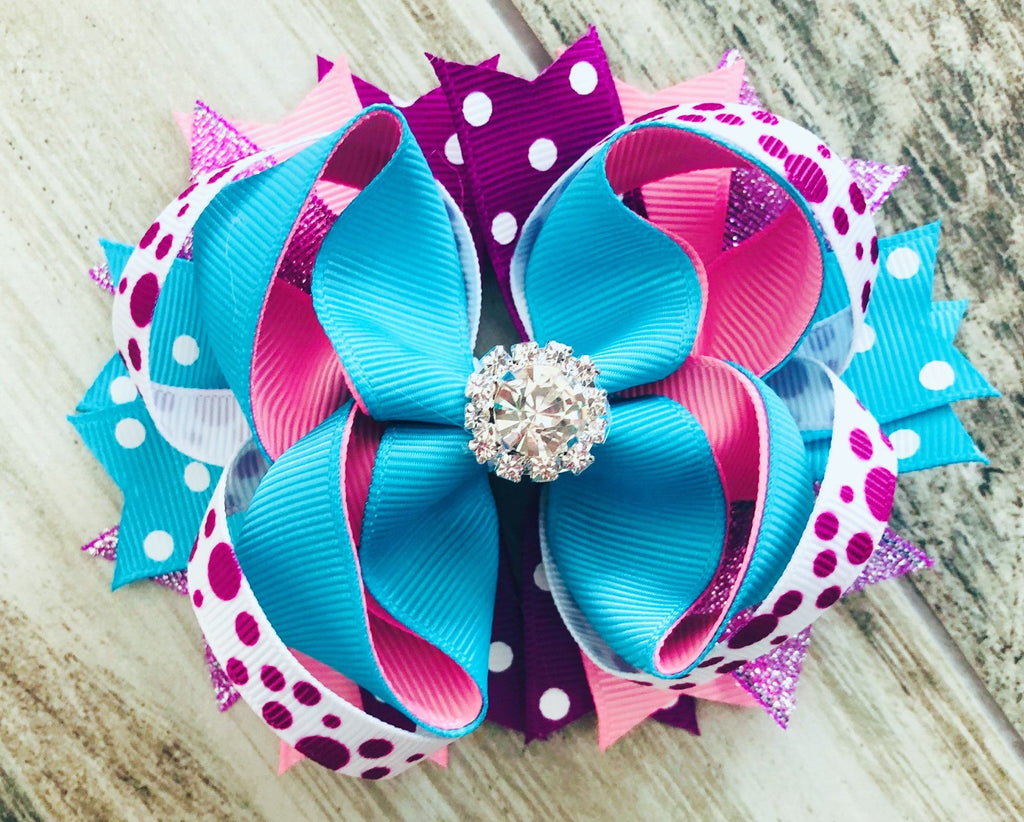 Turquoise Purple Rhinestone Hair Bow - Nico Bella Boutique