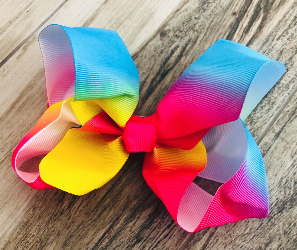 Rainbow Girls Hair Bow - Nico Bella Boutique
