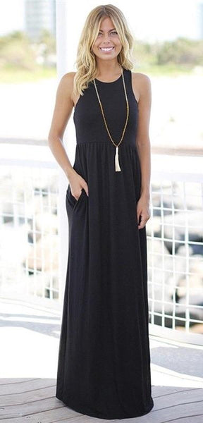 Black Racerback Maxi Dress - Nico Bella Boutique