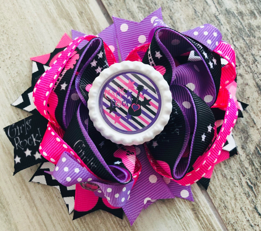 Girls Rock Hair Bow - Nico Bella Boutique