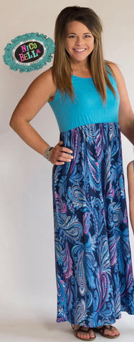Blue Paisley Tank Maxi Dress - Nico Bella Boutique