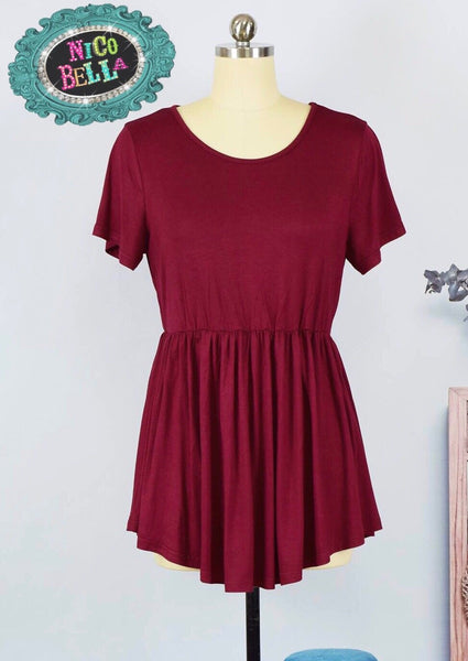 Wine Peplum Top - Nico Bella Boutique
