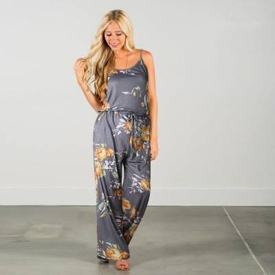 Grey and Yellow Floral Tank Jumpsuit - Nico Bella Boutique