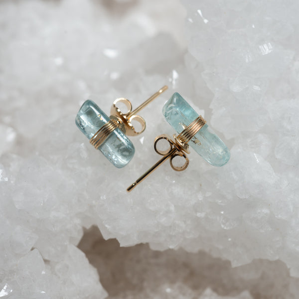 Boucles d'oreilles Crystal Clear Aigue-Marine Audrey Langlois Paris