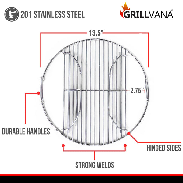 "14 Inch 201 Stainless Steel Charcoal Grill Cooking Replacement Grate now with Hinges - Compatible with Weber 14"" Smokey Joe"