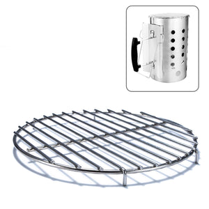 Chimney-Mate Charcoal Starter Grill Grate- Turn Your Charcoal Chimney Into A Portable Grill- Fits On Top Of Most 7.5 Inch Diameter Chimneys - Portable Camping Grill Grate- 201 Stainless Steel