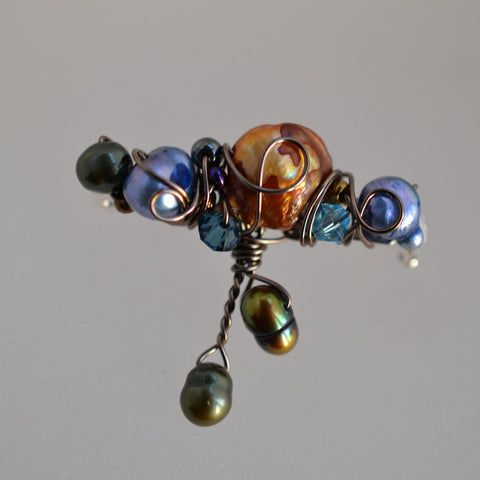 jewelart abstract pearl beaded brooch