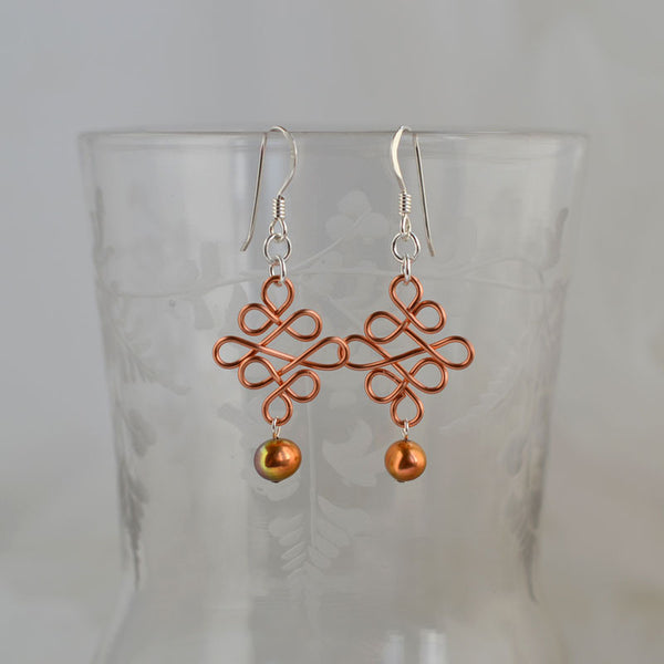 jewelart celtic style earrings copper with a copper pearl bead