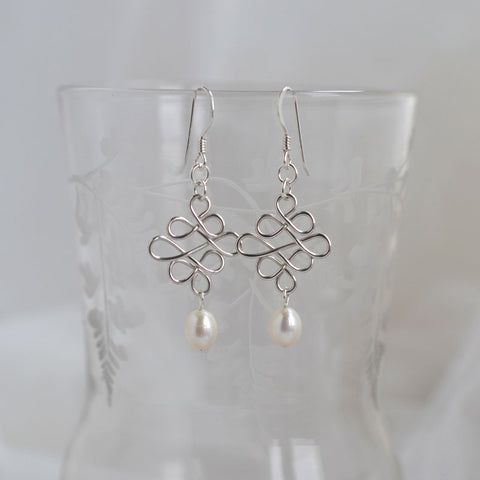 jewelart celtic style earrings sterling silver with pearl bead