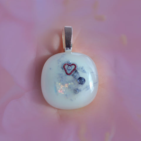 jewelart abstract fused glass heart design pendant