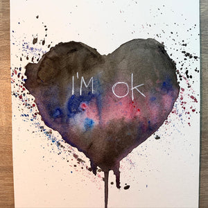 Original 'Ink Heart' Watercolour & Ink (A5) PLEASE SELECT WITH DROP DOWN MENU