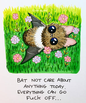 Mini Original 'Bat Not Care...' Drawing (A5)